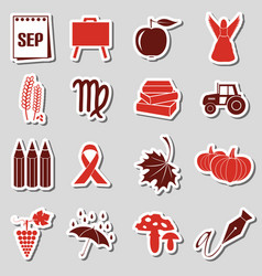 september month theme set of simple stickers eps10 vector image