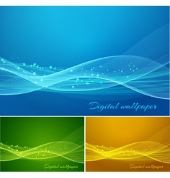 Shiny color waves background vector image