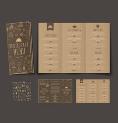 template of retro folding triple menu for cafes vector image