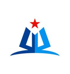 abstract shape star education logo vector image vector image