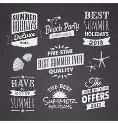 chalkboard style typographic summer designs vector image vector image