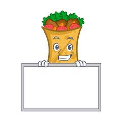 grinning kebab wrap character cartoon with board vector image vector image