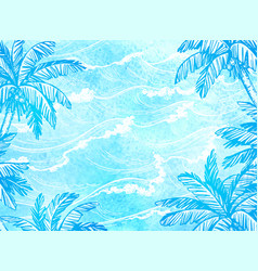 sea waves and palm trees vector image vector image