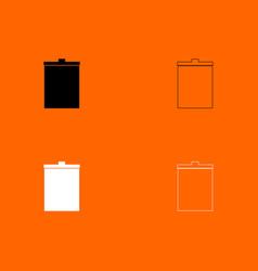 trash bucket black and white set icon vector image