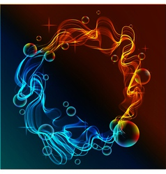 abstract fire and ice and bubbles vector image