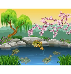 Cartoon bass fish collection in a pond vector image vector image