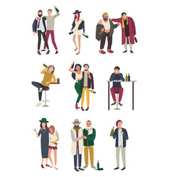 drunk people in various situation flat characters vector image