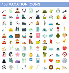 100 vacation icons set flat style vector