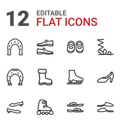 12 shoe icons vector