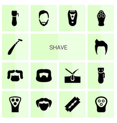 14 shave icons vector