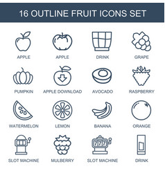 16 fruit icons vector