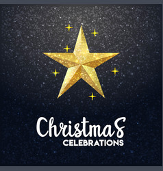 3d star merry christmas glowing background vector image