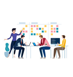 agile business team of programmer working and make vector image