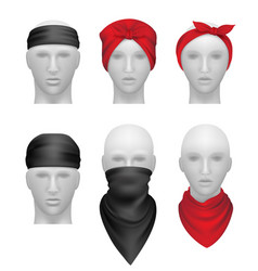 Bandanas set stylish clothes for bikers and vector