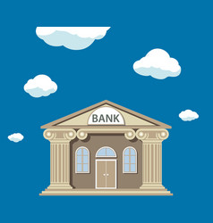 bank building facade with columns in flat graphics vector image