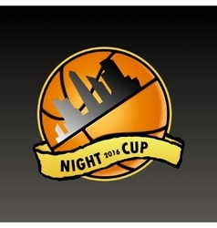 Basketball logo night cup vector