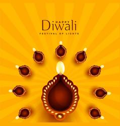 beautiful diwali diya decoration background vector image