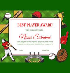 best player award diploma cartoon template vector image
