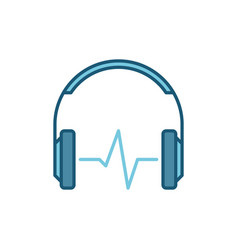blue headphones with sound wave icon vector image