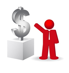 Business man showing the dollar sign vector image