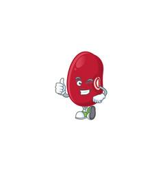 Cartoon character adzuki beans making thumbs up vector