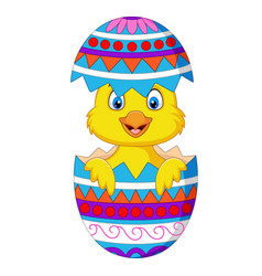 cartoon chick comes out from an easter egg vector image