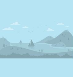 cartoon sail boats on lake landscape background vector image