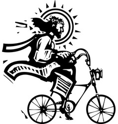 christ on a fixie vector image