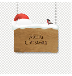 christmas santa claus hat with and wooden banner vector image