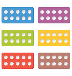 Colorful domino pieces with ten white dots on vector