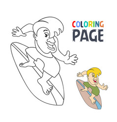 coloring page with surfing player cartoon vector image