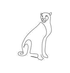 continuous one line drawing a cheetah sitting vector image