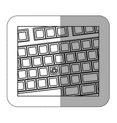 Contour computer keyboard with recycle symbol icon vector