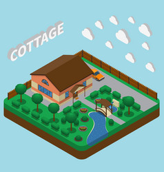 country estate isometric composition vector image