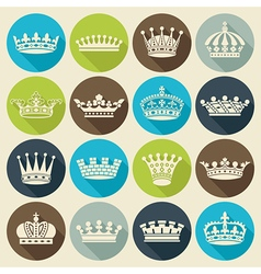Crowns flat shadow icons vector image