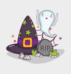 cute ghost halloween cartoon vector image