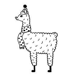 Cute hand-drawn of a lama in a cap and a scarf vector