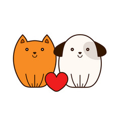 Cute smiling cat and puppy dog with heart vector