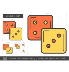 Dice cubes line icon vector
