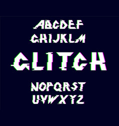 distorted glitch font vector image