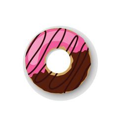 Donuts sweet dessert one vector