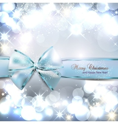 Elegant Christmas background with blue bow and vector
