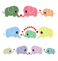 Family cute elephant on white background vector