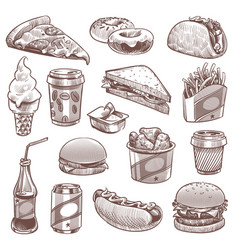 fast food sketch pizza donuts and ice cream vector image