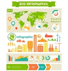 Flat eco city infographics template vector image