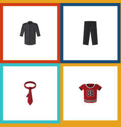 flat icon dress set of cravat t-shirt pants and vector image