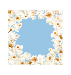 frame made of popcorn over the light blue vector image