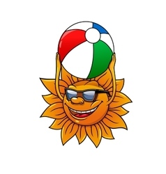 Funny summer sun with ball vector image