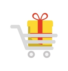 Gift cart present bowtie red ribbon icon vector