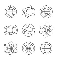 globe icons set social network global signs thin vector image